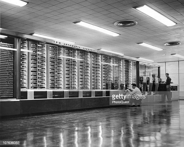View of IBM's Harvard Mark I Automatic Sequence Controlled Calculator on the campus of Harvard University Cambridge Massachusetts 1944