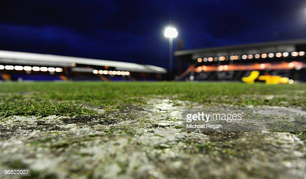 A view of ice on the pitch before the Guinness Premiership Match between Sale Sharks and Harlequins at Edgeley Park on January 1 2010 in Stockport...
