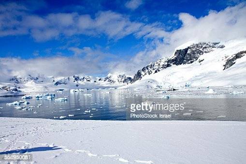 View of icebergs and mountains, Cuverville Island, Antarctica
