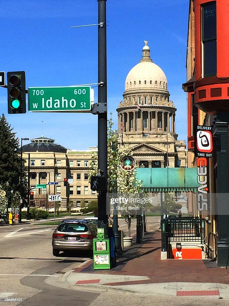 View of Idaho State Capitol In Boise from corner of Capitol Blvd and Idaho Street