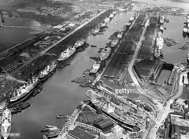 A view of idle loading docks as the Royal Albert Docks go on strike Ships from New Zealand and South Africa can be seen idle in London England June 6...