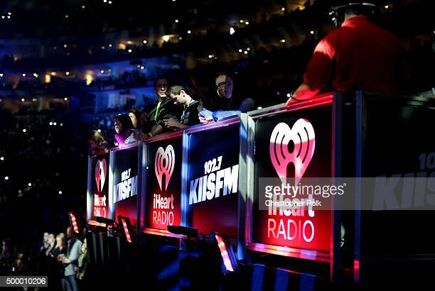 A view of iHeart Radio and KIIS FM signage displayed during 1027 KIIS FM's Jingle Ball 2015 Presented by Capital One at STAPLES CENTER on December 4...