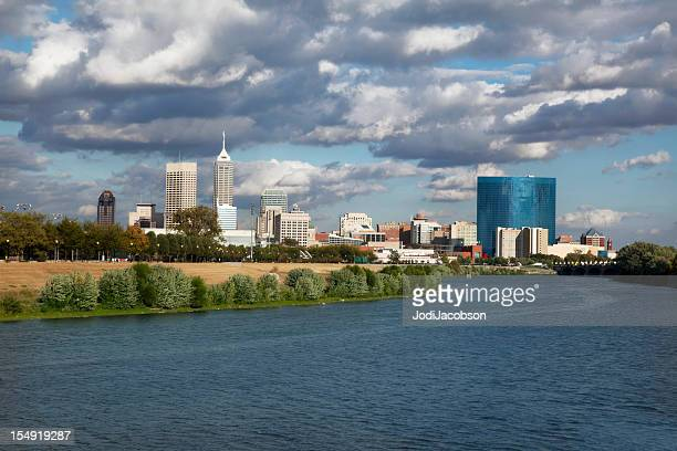 View of Indiana cityscape and river
