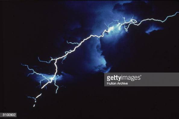 View of intercloud lightning at night late Twentieth Century