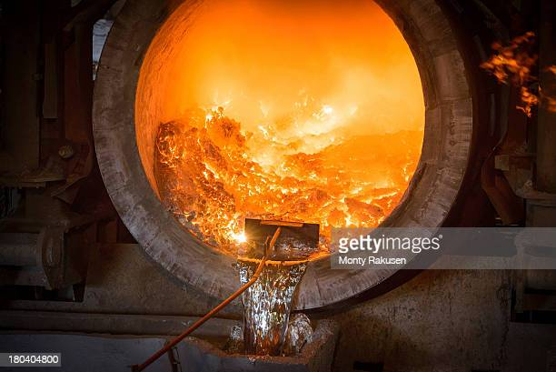 View of interior of furnace in aluminium foundry