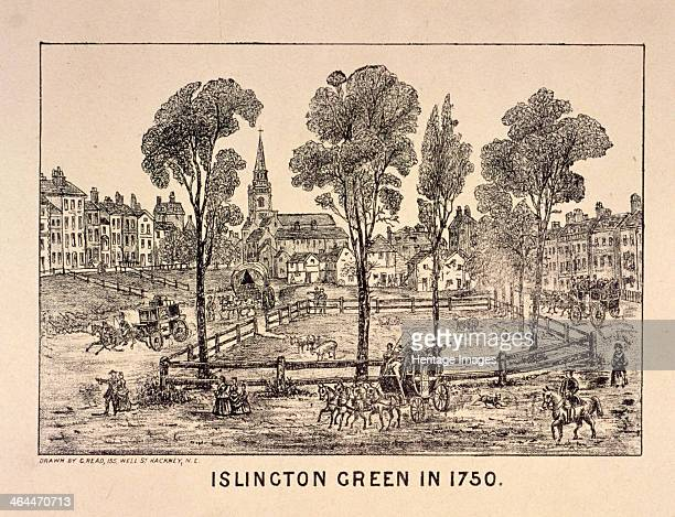 View of Islington Green London 1750 with horse drawn carriages and animals grazing on the green