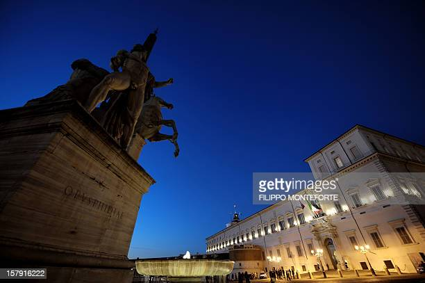 A view of Italian Repulic presidential palace Palazzo del Quirinale in downtown Rome 05 February 2008 President of Italy Giorgio Napolitano summoned...