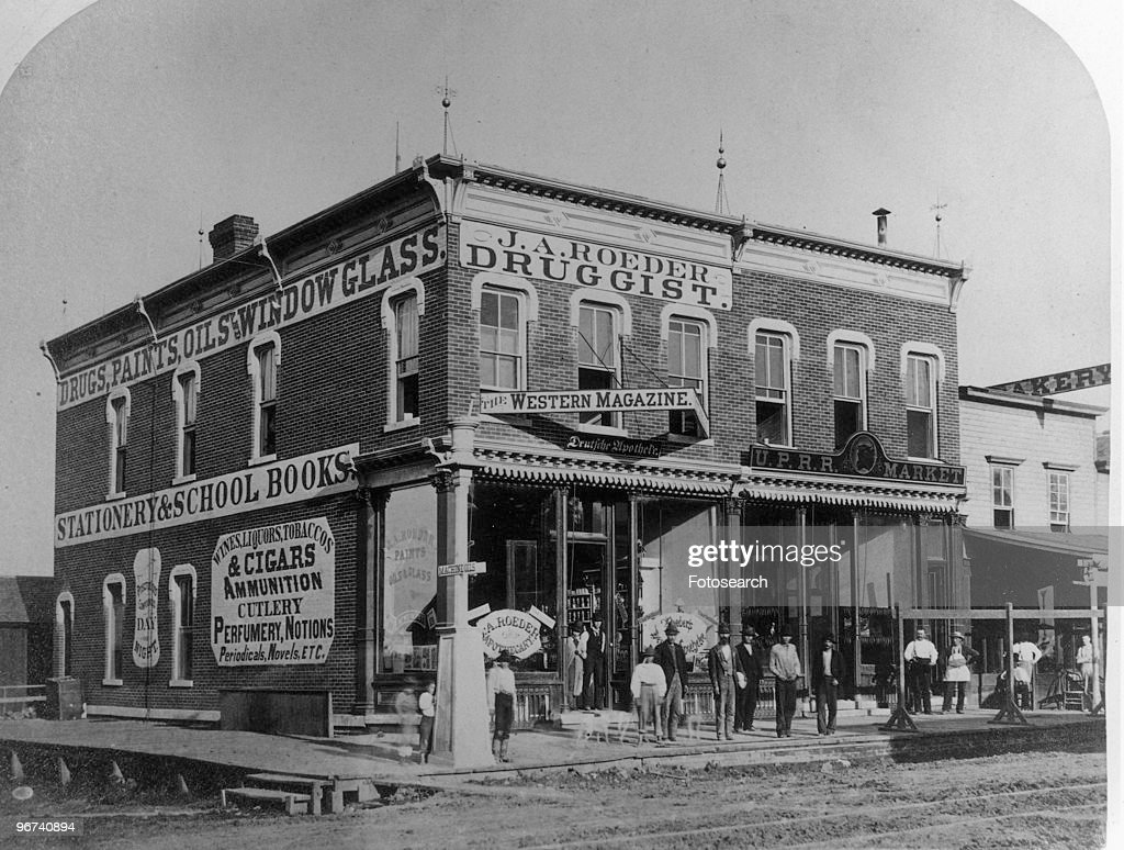 View of JA Roeder Druggist a store on Union Pacific Block 16th Webster Omaha Nebraska USA date unknown