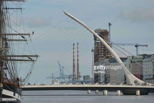 A view of Jeanie Johnston Tall Ship Samuel Beckett's bridge and Poolbeg power station's chimneys in the back On Wednesday 25 October 2017 in Dublin...