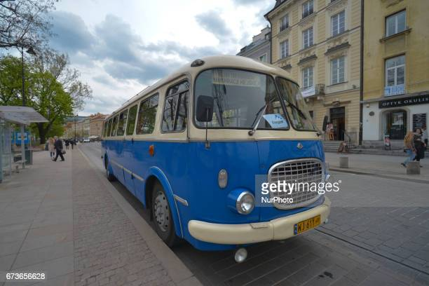 A view of Jelcz 043 a popular 'cucumber' bus produced from 1959 to 1986 under the license of Czechoslovak Skoda On Tuesday April 26 in Warsaw Poland