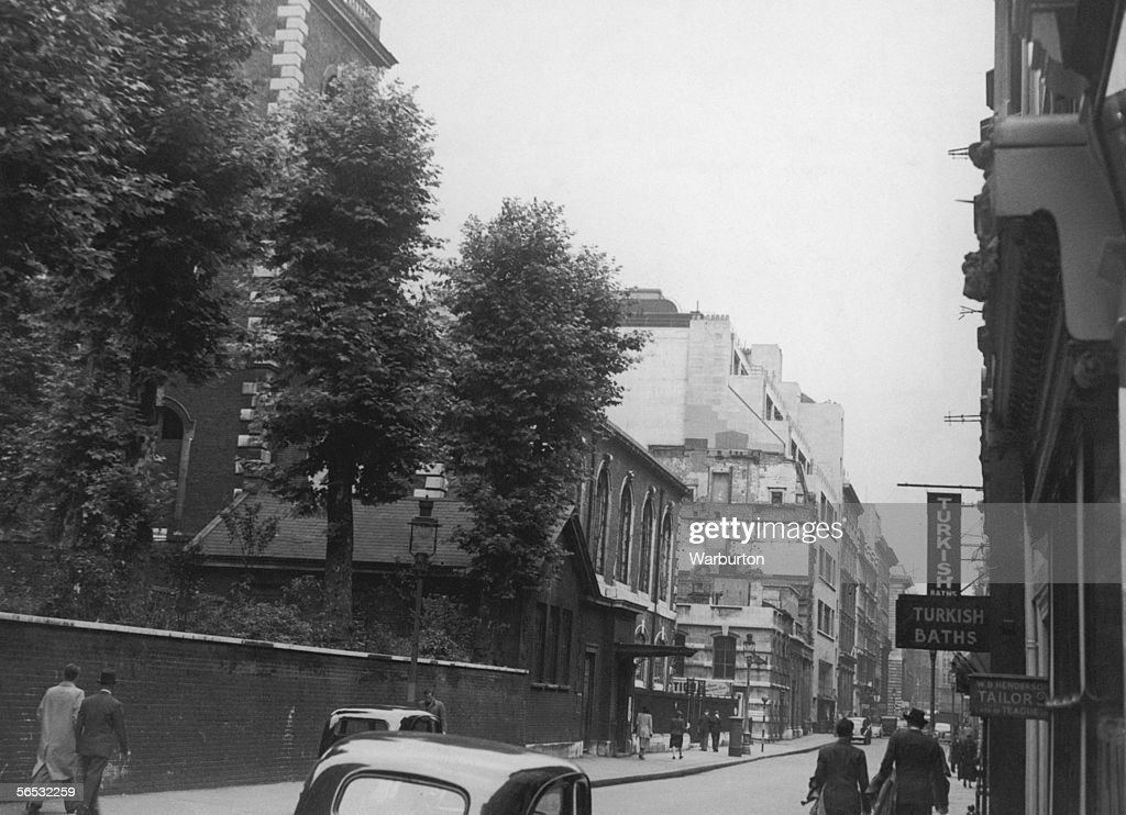 A view of Jermyn Street London 1st July 1948 St James's Church designed by Sir Christopher Wren can be seen on the left