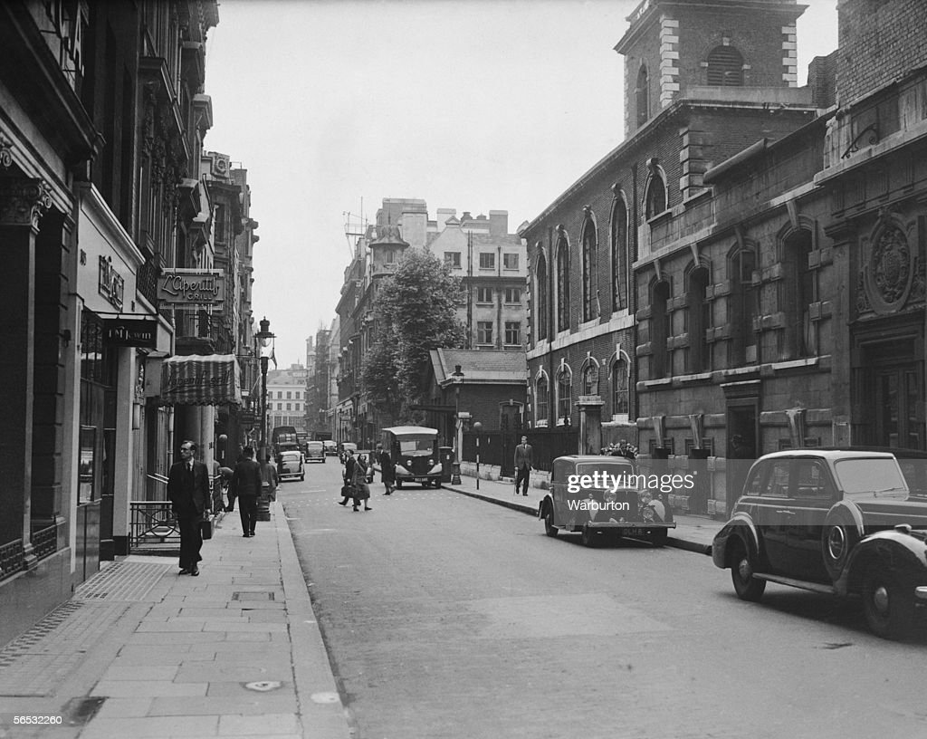 A view of Jermyn Street London 1st July 1948 St James's Church designed by Sir Christopher Wren can be seen on the right