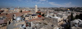 A view of Jerusalem's old city with the Dome of the Rock Mosque the bell tower of the Lutheran Church and the Church of the Holy Sepulchre on...