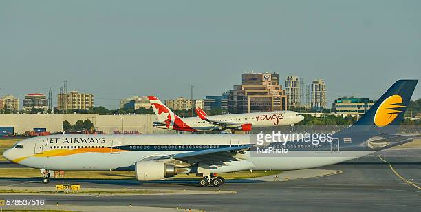 A view of Jet Airways and Air Canada Rouge planes at Toronto Pearson International Airport On Wednesday 20 July 2016 in Toronto Canada