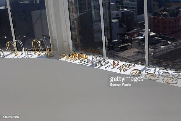 A view of jewelry on display during SheaMoisture at Laquan Smith F/W 2016 NYFW at Jack Studios on February 14 2016 in New York City
