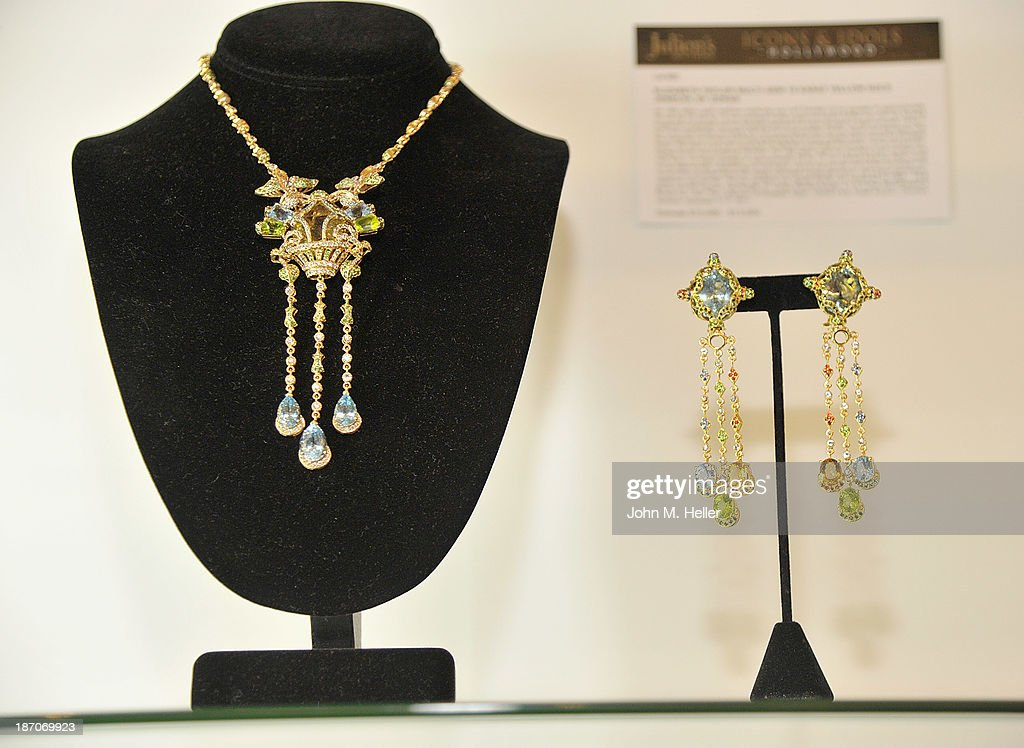 A view of jewelry worn by actress Elizabeth Taylor at the press preview for Icons & Idols Fashion and Hollywood Exhibit at Julien's Auctions Gallery on November 5, 2013 in Los Angeles, California.