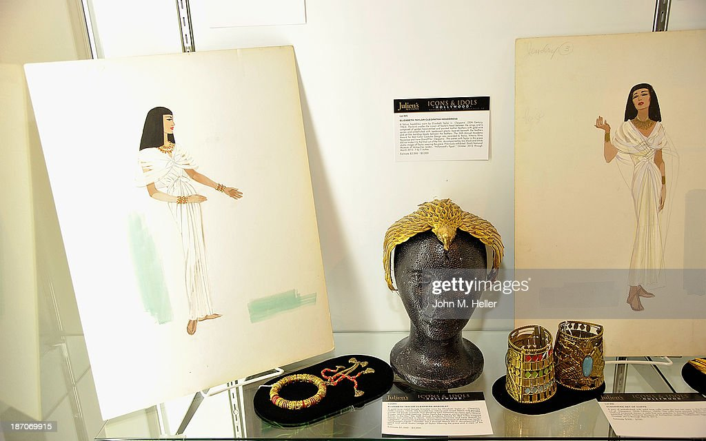A view of jewelry worn by actress Elizabeth Taylor in the movie 'Cleopatra' at the press preview for Icons & Idols Fashion and Hollywood Exhibit at Julien's Auctions Gallery on November 5, 2013 in Los Angeles, California.