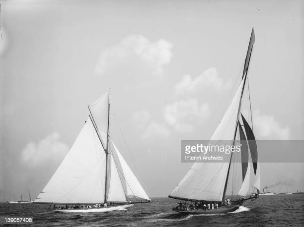 View of JP Morgan's yacht Columbia sailing against Sir Thomas Lipton's challenger Shamrock I 1899