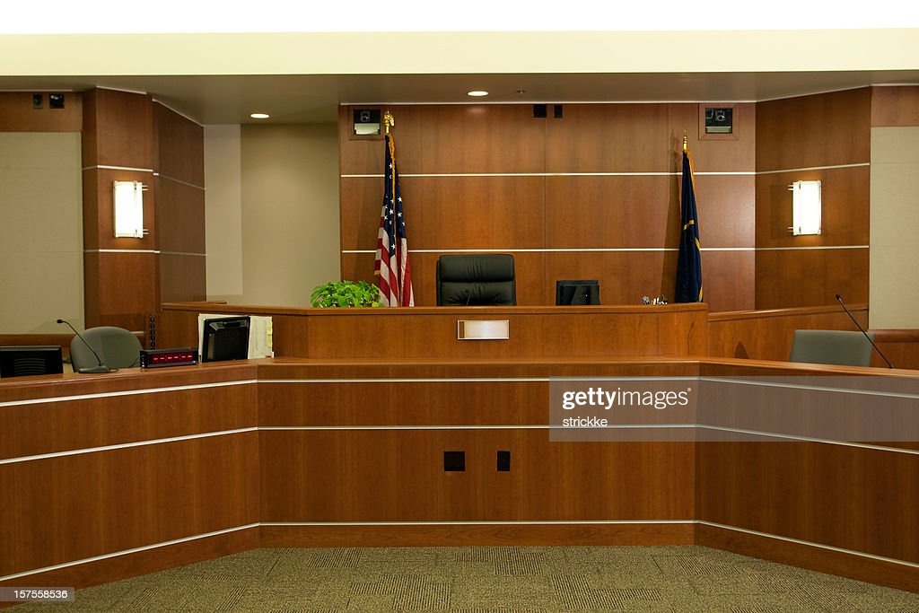 View of Bench in Modern Courtroom Setting