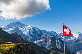 Stunning view of the Jungfrau and mountain range of Bernese alps from Mannlichen cablecar station, Switzerland.