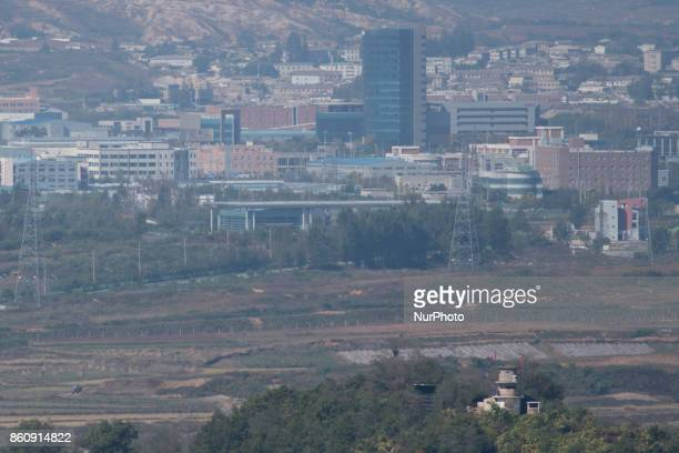 View of Kaesong Industrial Complex from Dora Observatory in South Korea near the DMZ A North Korean military observation post can be seen in the...