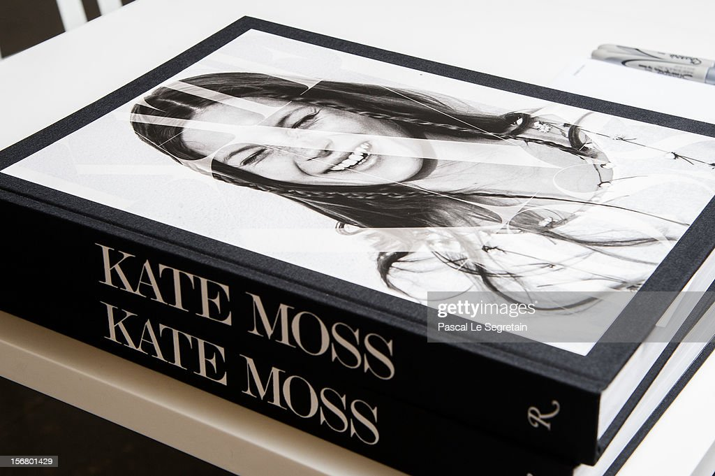 View of <a gi-track='captionPersonalityLinkClicked' href=/galleries/search?phrase=Kate+Moss&family=editorial&specificpeople=201830 ng-click='$event.stopPropagation()'>Kate Moss</a>'s Book 'Kate: The <a gi-track='captionPersonalityLinkClicked' href=/galleries/search?phrase=Kate+Moss&family=editorial&specificpeople=201830 ng-click='$event.stopPropagation()'>Kate Moss</a> Book' during a signing session at Colette on November 21, 2012 in Paris, France.