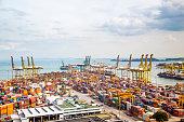 View of Keppel harbor, Singapore, Republic of Singapore