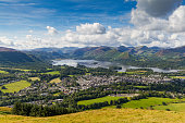 View of Keswick and lake Derwent Water from Latrigg, Cumbria, UK