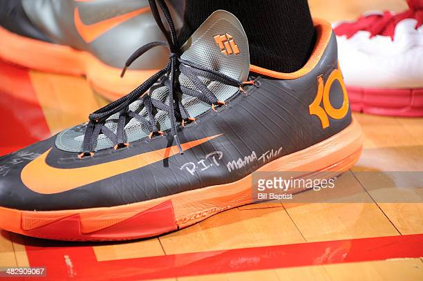 A view of Kevin Durant of the Oklahoma City Thunder sneakers during the game against the Houston Rockets on April 4 2014 at the Toyota Center in...