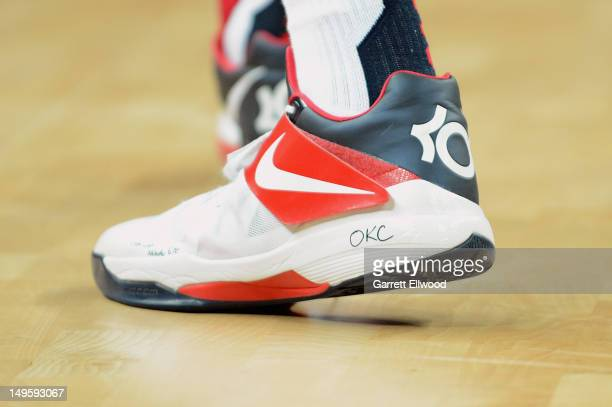 A view of Kevin Durant's of the US Men's Senior National Team sneaker worn against Tunisia during their Basketball Game on Day 4 of the London 2012...