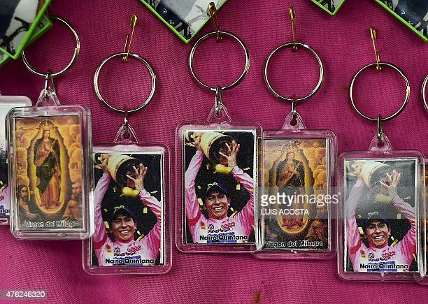 View of key rings with a picture of Colombian cyclist Nairo Quintana at his father's house in Arcabuco Boyaca department on June 5 2015 Nairo...