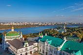 View of Kiev Pechersk Lavra, Orthodox Monastery and Dnepr river. Kiev, Ukraine.