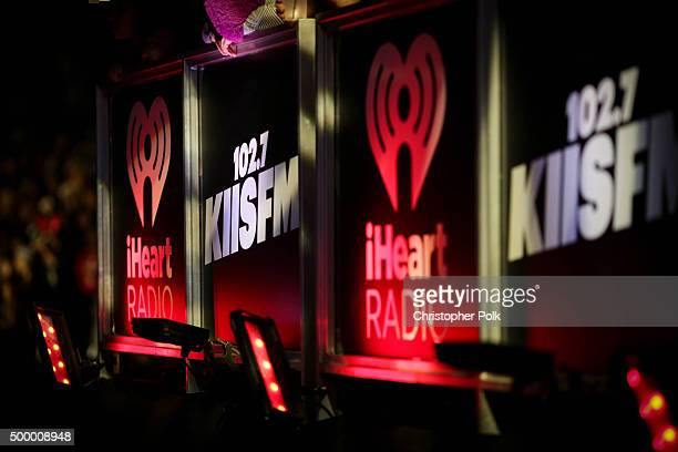 A view of KIIS FM and iHeart Radio signage displayed at 1027 KIIS FM's Jingle Ball 2015 Presented by Capital One at STAPLES CENTER on December 4 2015...