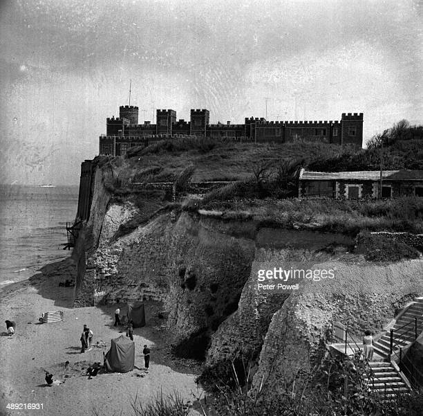 A view of Kingsgate Castle on the cliffs above Kingsgate Bay at Broadstairs Kent 1958