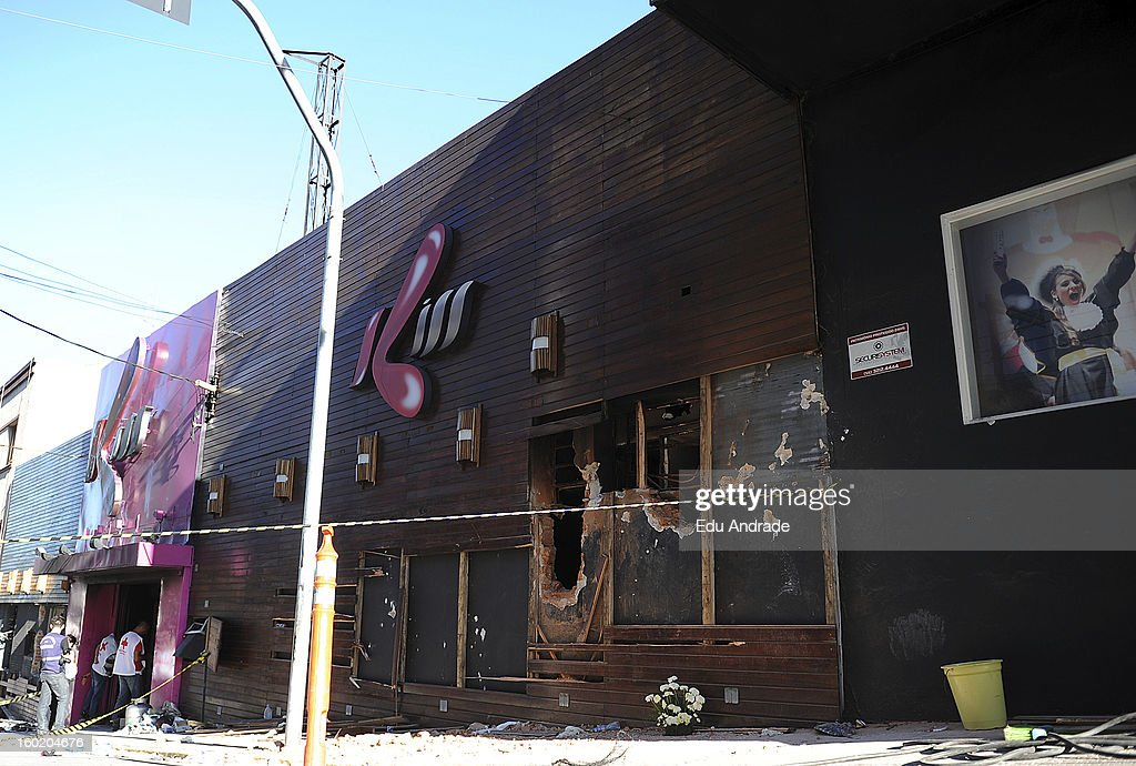 View of Kiss Nightclub after last night fire in Santa Maria on January 27, 2013 in Santa Maria, Brazil. Last night the nightclub Kiss caught fire killing 245 people. Families are still recognizing the bodies.