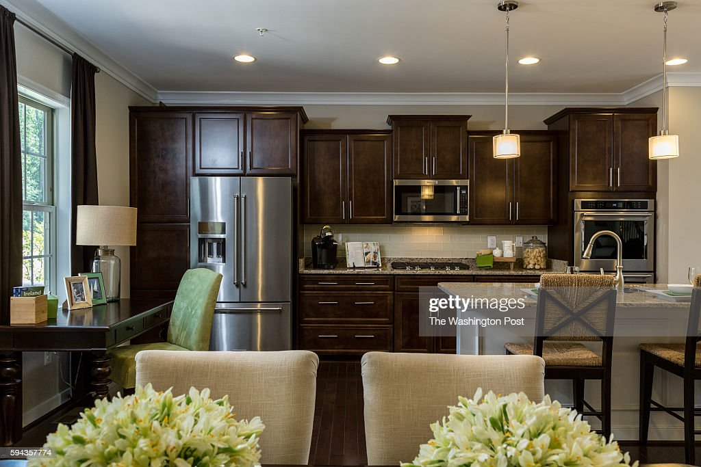 View of Kitchen from the Dining Area in the Edinburgh Model at Admirals Ridge on August 11 2016 in Arnold Maryland