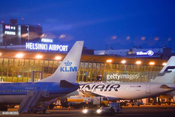 A view of KLM and Finnair planes docked at HelsinkiVantaa Airport Finnairs customers should prepare for flight delays today on Monday March 6 due to...