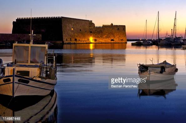 A view of Koule castle at the old harbor of Heraklio during the twilight on March 27 2009 in Heraklion Greece