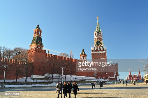 View of  Kremlin from Vasilyevsky Spusk and passers-by : Stock Photo