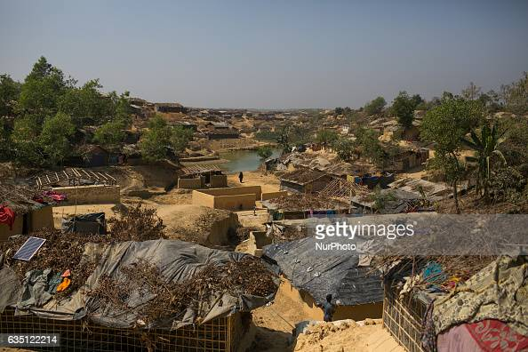 A view of Kutupalong Refugee Camp Cox's Bazar Bangladesh on February 13 2017 After attacks by Rohingya militants on border police posts on October 9...