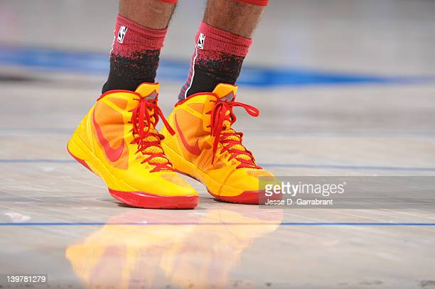A view of Kyrie Irving of Team Chuck's sneakers during the 2012 BBVA Rising Stars Challenge at Amway Center on February 24 2012 in Orlando Florida...