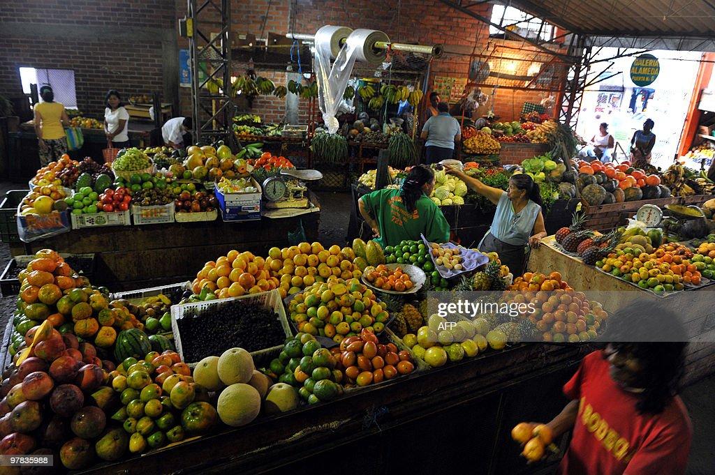 View of La Alameda market on March 18 in Cali Valle del Cauca department Colombia AFP PHOTO/LUIS ROBAYO