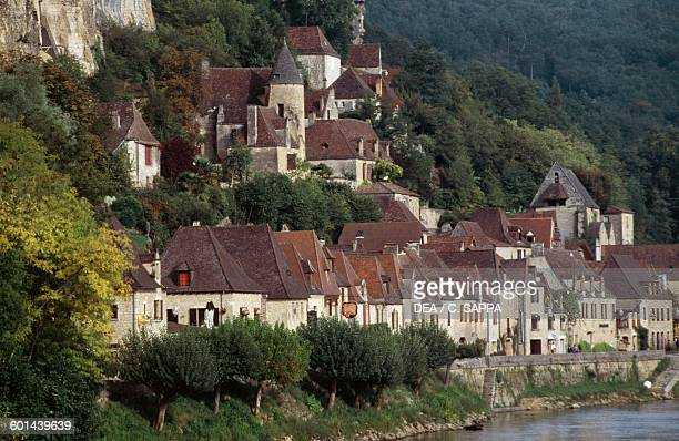 View of La RoqueGageac village on the banks of the Dordogne river Limousin France
