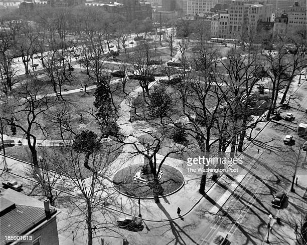 A 1957 view of Lafayette Square seen from the old Cosmos Club Washington Post photo March 1957