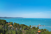 View of Lake Balaton with ships from Tihany Abbey in Tihany, Hungary