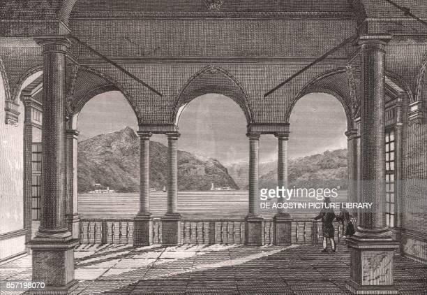 View of Lake Como from Villa Pliniana Torno Lombardy Italy steel engraving 11x7 cm from L'Italia la Sicilia le isole Eolie l'isola d'Elba la Sardegna...
