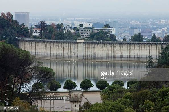 A view of Lake Hollywood in Los Angelesduring a rain storm in Hollywood California on January 12 2017 A series of storms that have rolled across...