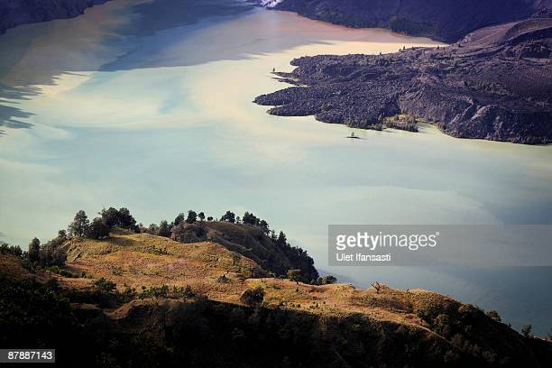 A view of lake Segara Anak is seen at Mount Rinjani also known as Gunung Rinjani on May 19 2009 in Lombok West Nusa Tenggara Province Indonesia The...