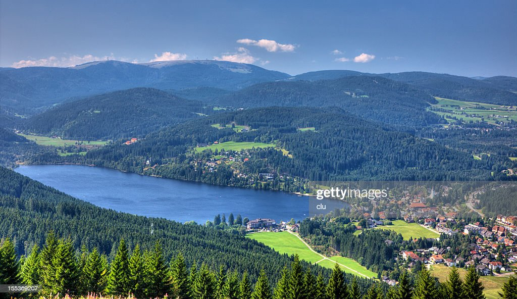 View of lake titisee and the mountain Feldberg