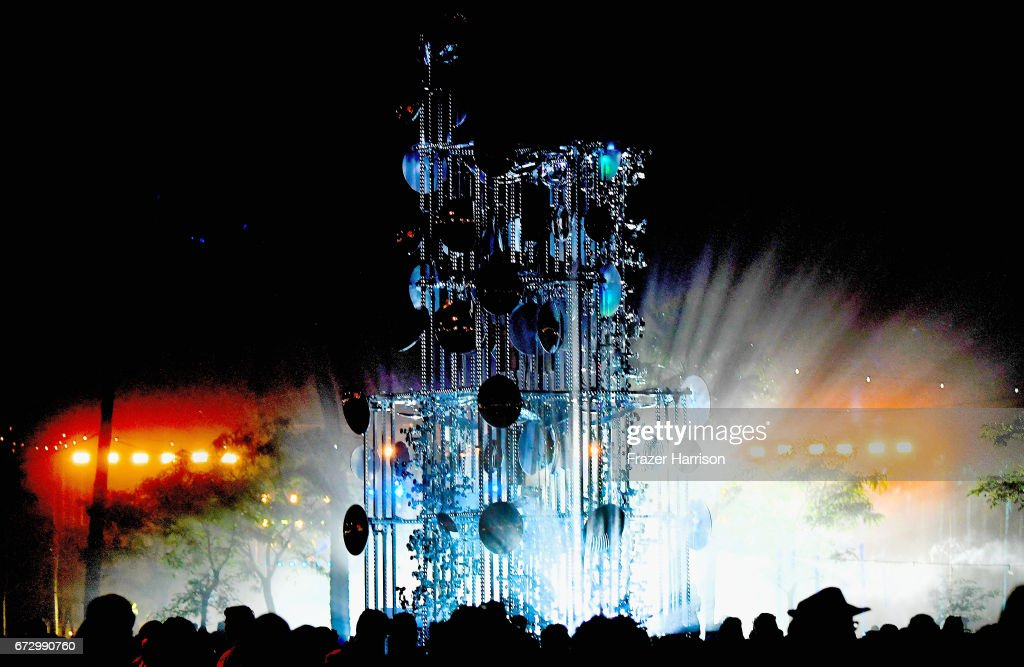 A view of Lamp Beside the Golden Door art installation by Gustavo Prado during day 2 of the 2017 Coachella Valley Music & Arts Festival (Weekend 2) at on April 22, 2017 in Indio, California.